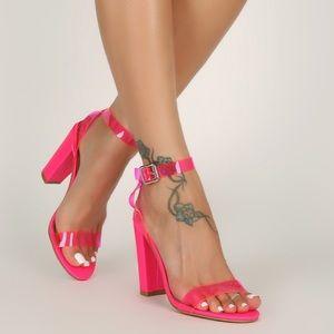 Neon pink jelly block heels